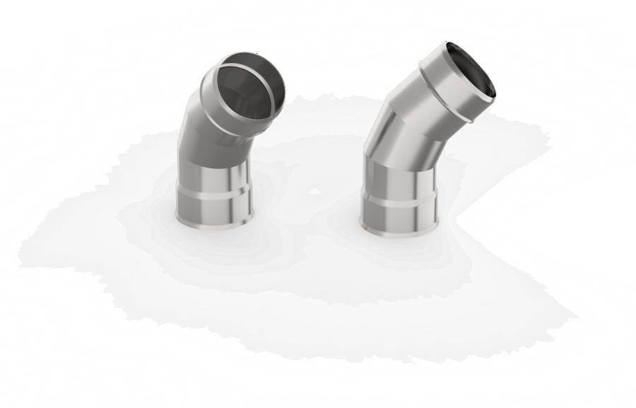 Dūmvada caurules līkums (leņķis 45°, D = 150 mm)