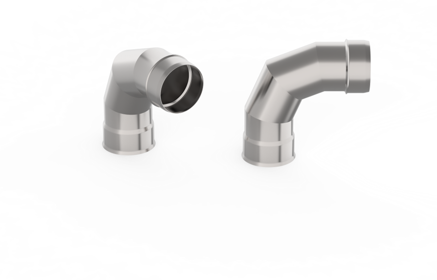 Dūmvada caurules līkums (leņķis 90°, D = 150 mm)