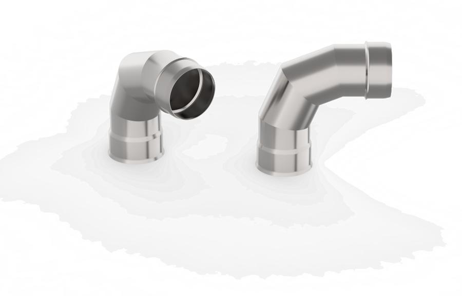 Dūmvada caurules līkums (leņķis 90°, D = 115 mm)