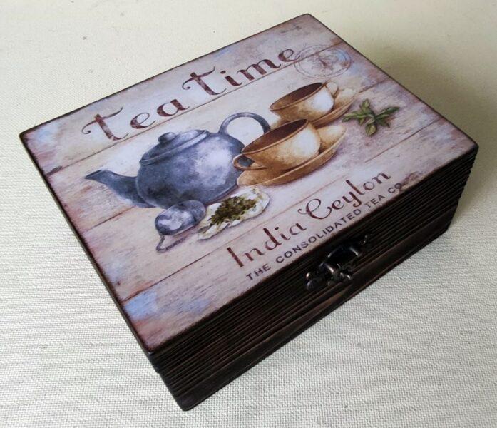 """Koka kaste tējai """"Tējas laiks"""" (roku darbs)"""