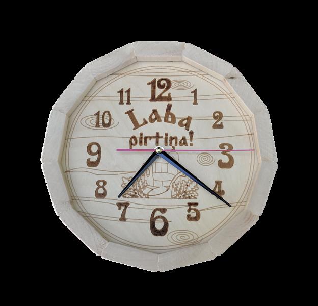 """Koka pirts pulkstenis (liepa) ar uzrakstu """"Laba pirtiņa"""""""