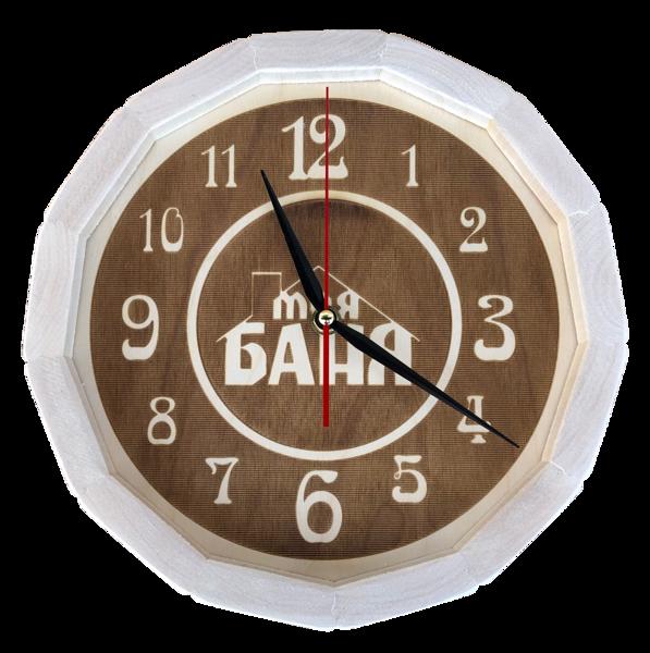 """Koka pulkstenis pirtij (liepa) ar uzrakstu krievu valodā """"Моя баня"""""""