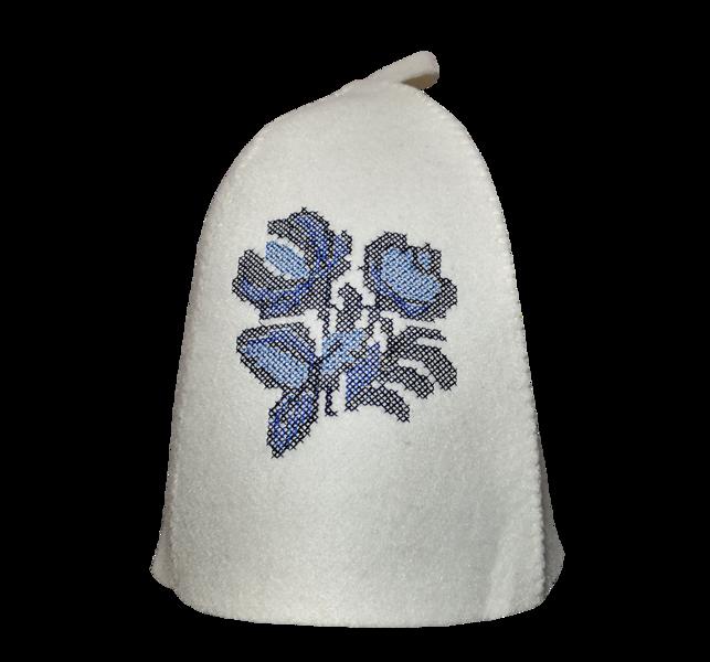 """Sieviešu pirts cepure ar izšuvumu """"Zilā puķe"""""""